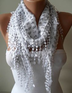White Scarf with Grey Flowers  with White Trim Edge by SwedishShop, $12.90