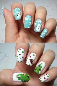 christmas nails, tree and snowman