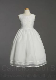 Satin and Organza First Communion Dress with Pearl Accents