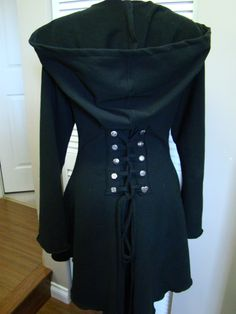 Black Fairy pixie steampunk cloak jacket hoody modern red riding hood girly pirate