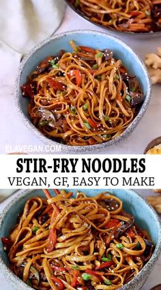 These 25-minute vegetable stir-fry noodles are simple, and packed with flavor for a quick weeknight meal! Customize the ingredients with whatever you have available, and you have a meal that will never get boring. Plus, this Asian noodle recipe is meat-free, refined sugar-free, vegan, and can be made gluten-free! #stirfrynoodles #panfriednoodles #asiannoodles #veganlomein #elasrecipes | elavegan.com