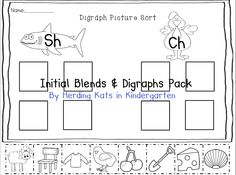 Initial Consonant Blends & Digraph pack - picture cards, a graphing activity and cut & paste sorting sheets! $