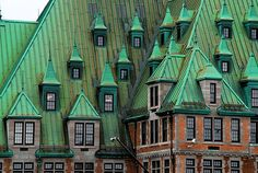green roofs, old buildings, green gables, patina, canada, train stations, quebec city, dormer windows, rooftop