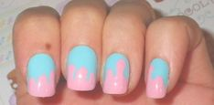 Pink & blue drippy nails