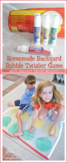 Homemade Backyard Bubble Twister Game with DecoArt Spirit Writers #ad - so easy and fun - great weekend or summer boredom busting craft idea