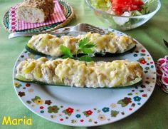 Calabacines rellenos de queso fresco batido y atún en escabeche