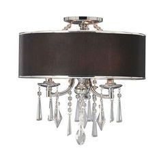 ** Golden Lighting Echelon Chrome Black Three 60-watt Light Convertible Semi Flush Mount with Tuxedo Shade $299