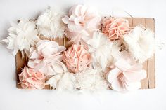 heavenly fabric flower garland - love the colours/varying styles of flowers