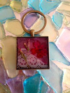 Hand Pressed Flower Lace Mixed Fabric Keychain  by HHFlowerDesigns, $25.00