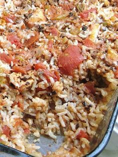""" Mexican Chicken & Rice Casserole"" ... This is really good put in Flour Tortilla's and topped off with Cheese...."