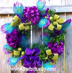Peacock Feather Christmas Wreath Purple and Lime Green
