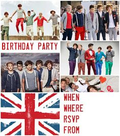Here are some - 1D - One Direction party invitations for birthdays - there are lots more to choose and print  or save to your PC for later. These look great when printed on card stock rather than just paper. These One Direction invitations for birthdays are able to be personalised. They have blanks where you can fill in the details of your own party such as time and date and of course RSVP details. There is  also  a One Direction colouring page for you to color