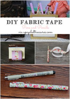 DIY Fabric Tape Pens & Pencils | UpcycledTreasures.com #DIY #pens #pencils #fabrictape #office