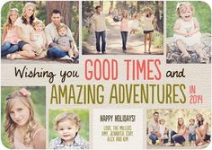 Amazing Adventures photo card in coral pink. One of our top pinned holiday cards!