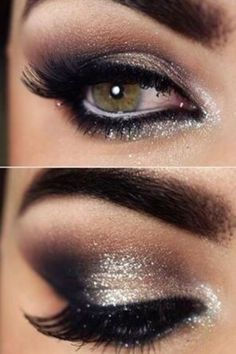 Darker on outer and glitter liner under the black liner.. Love this night out look