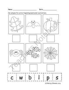 Beginning Sounds (September, October, and November) 4 pages $