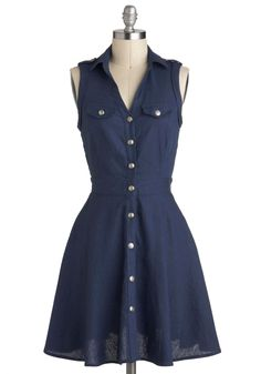 Safari of Serendipity Dress - Blue, Buttons, Pockets, Casual, Shirt Dress, Sleeveless, Collared, A-line, Mid-length, Menswear Inspired, Vintage Inspired