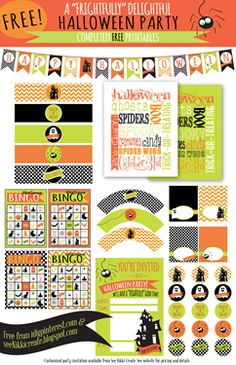 We Heart Parties | Adorable FREE Halloween printables - love the chevron <3