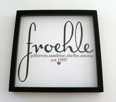 Wedding Gift Personalized Family Name FRAMED Print Sign Art- Great Wedding or Engagement Gift