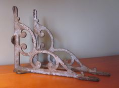 Beautiful Old and Ornate Cast Iron Silvered Brackets