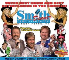 Seven time winners of Best Show in the Smokies - The Smith Boys will entertain guests with a variety show filled with classic country, gospel, oldies rock-n-roll, bluegrass and clean family comedy. Impersonations of famous stars and a tribute to the Andy Griffith Show make this a must see show! A Southern style buffet dinner is served along with the most award winning show in the Smokies. Come see why The Smith Family Show is the locals favorite!