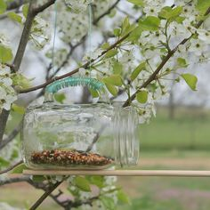 Mason Jar Bird Feeder -- take a mason jar glass and make a fun bird feeder in just minutes.
