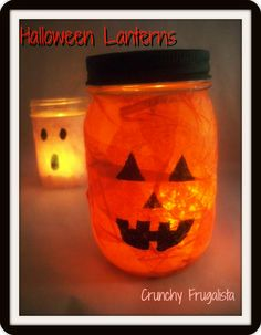 Looking for an easy craft to do with the kids? Check out these Halloween lanterns! #crafts
