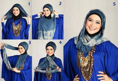 """How to wrap a long pashmina / rectagle scarf for a cowled look... Directions look a tad complicated, but then suddenly, """"Ahhh! I get it!"""" fashion, tutorials, cara memakai, hijabs, scarves, hijab tutorial, dressing up, hijab styles, hijabtutori"""