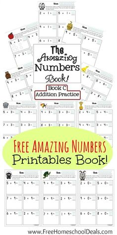 Free number printable pages - Simple Addition math facts for K/1st grades