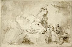 """Jean-Honoré Fragonard (French), Oh! If Only He Were As Faithful to Me, 1770-1775, Black chalk, brush, and brown wash, 9-3/4 x 15-1/8"""", 82.GB.165."""