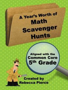 12 Math Scavenger Hunts for the 5th grade Common Core including: multiplication, division, fractions, decimals, and geometry. $
