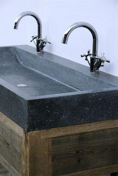 badkamermeubel oud hout en natuursteen, op maat gemaakt www ...