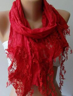 Red  Elegance Shawl / Scarf with Lace Edge by womann on Etsy, $17.90