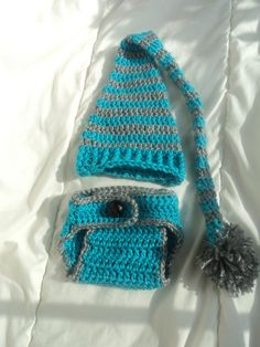Blue Crochet Baby Elf Hat and Crochet Diaper Cover, Crochet Photo Prop. $29.99, via Etsy.