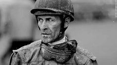 Jockey Gary Stevens cover in mud