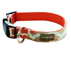 mimi green orange designer dog collar and lead Murphy