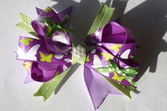 purple and green spring bow by mylittlebows on Etsy, $7.00