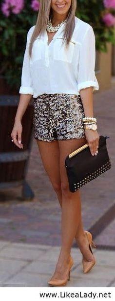 white shirt, mini short and black purse