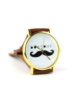 #Chicwish Bonjour Moustache Watch - Accessory - Retro, Indie and Unique Fashion