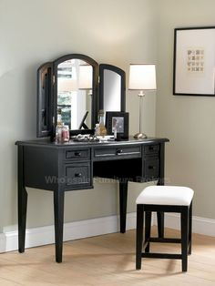 Antique Black Vanity Set with Distressed Finish | Bedroom Furniture by Powell Company | Free Shipping Wall Colors, Vaniti Mirror, Bedroom Colours, Black Wood, Bedroom Sets, Bedroom Furniture, Wood Vaniti, Paint Colors, Color Black