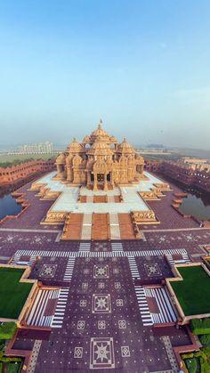 india, akshardham temple, beautiful, top view, panorama