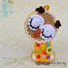 Crochet sleeping owl ornament