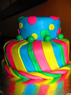 Colorful polka dots and stripes birthday cake I made for a 14 year old girls birthday party :)