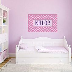 Personalized Vinyl Name Wall Decal - Cute Chevron  Border Name Decal - Baby Girl Boy Nursery Toddler Teen Room 22H x 36W GN001. $36.95, via Etsy.