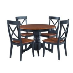 5 Piece Round Pedestal Dining Table - Cottage Oak