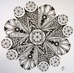 zentangle flowers | Having fun with zendalas! Actual size 8x8