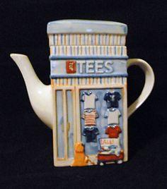 """Tees and Jeans"" Storefront Series Ceramic Teapot MSRF Design Studios Inc | eBay"