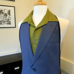 Men's Apron UpCycled from Suit Jacket  Blue Linen by DrapesofWrath, $70.00