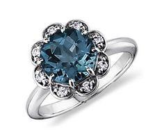 London Blue Topaz and Diamond Flower Ring in 14k White Gold #bluenile