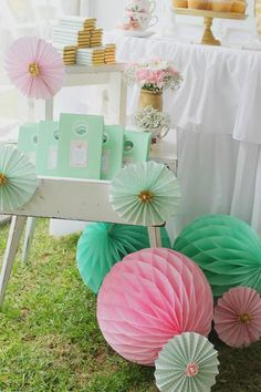 Mint, Pink, and Gold Tea Party
